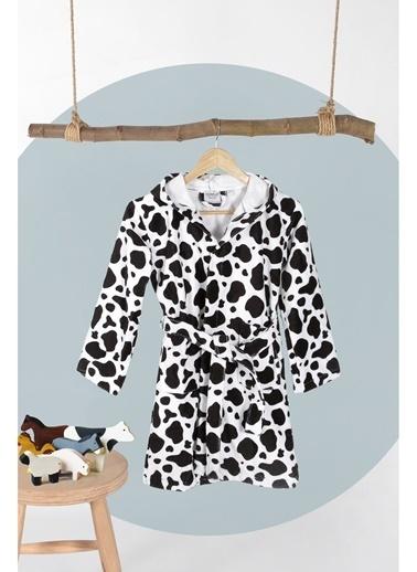 Hamur Cow Siyah Beyaz Kapşonlu Bebek Çocuk Bornozu Siyah